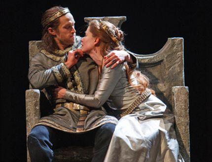 Ian Lake as Macbeth and Krystin Pellerin as Lady Macbeth. Photography by David Hou.