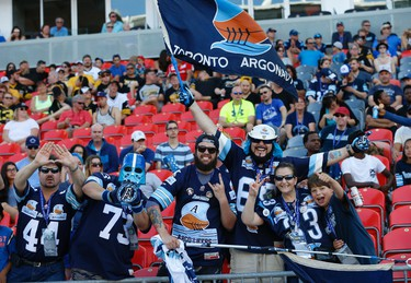 Argonauts fans during the first quarter pre-season game at BMO Field  Toronto, Ont. on Saturday June 11, 2016. Jack Boland/Toronto Sun/Postmedia Network