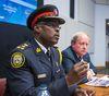 Toronto Police Service Chief Mark Saunders (left) and Toronto Police Services Board chair Andy Pringle address media at a TPSB meeting on Thursday June 16, 2016. (Ernest Doroszuk/Toronto Sun)