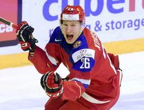 Yegor Korshkov of Russia celebrates after scoring during the 2016 World Junior Championship semifinal against the U.S.A. in Helsinki Monday Jan. 4, 2016. (Markku Ulander/Lehtikuva via AP)
