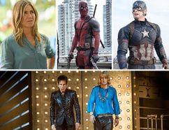 "Clockwise from top: Jennifer Aniston in ""Mother's Day."" Ryan Reynolds in ""Deadpool,"" Chris Evans in ""Captain America: Civil War,"" and Ben Stiller & Owen Wilson in ""Zoolander 2."""