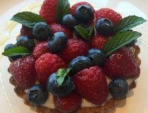 Lemon Curd Tart with Fresh Berries & Honey Syrup