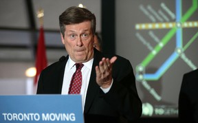 Mayor John Tory at press conference on the Scarborough subway in Toronto, Ont. on Thursday January 21, 2016. Craig Robertson/Toronto Sun/Postmedia Network