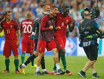 Portugal's Cristiano Ronaldo and Eder