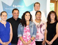 McKenna Elsasser, left, intern at Theatre Cambrian; Marc Serre, Nickel Belt MP; Jolene Recollet, intern at Wahnapitae First Nation; DonMcGregor, executive director at Wahnapitae First Nation; Samantha Corbiere, councillor for Wahnapitae First Nation; and Marilyn Nicholls, economic development officer at Wahnapitae First Nation, pose for a photo following a FedNor funding announcement for youth internships on Wednesday. (Ben Leeson/Sudbury Star)