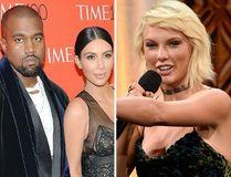 Kanye West, Kim Kardashian and Taylor Swift. (AP photos)