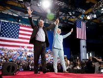 Hillary Clinton and Sen. Tim Kaine