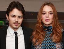 Actress Lindsay Lohan and Egor Tarabasov arrive at the 2016 British Asian Awards at a central London hotel, Friday, April 8, 2016.