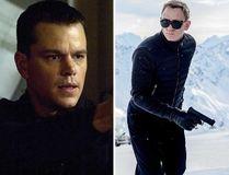 Matt Damon as Jason Bourne and Daniel Craig as James Bond.
