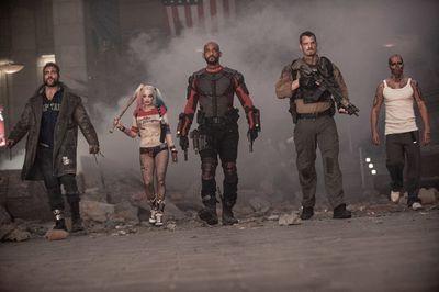 Jai Courtney as Boomerang, Margot Robbie as Harley Quinn, Will Smith as Deadshot,  Joel Kinnaman as Rick Flag and Jay Hernandez as El Diablo in Suicide Squad. (Courtesy of Warner Bros.)