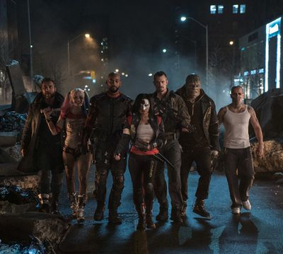 Jai Courtney as Boomerang, Margot Robbie as Harley Quinn, Will Smith as Deadshot, Karen Fukuhara as Katana, Joel Kinnaman as Rick Flag, Adewale Akinnuoye-Agbaje as Killer Croc and Jay Hernandez as El Diablo in Suicide Squad. (Courtesy of Warner Bros.)
