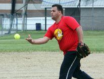 KI Pembroke pitcher Matt Jones lobs the ball during the seventh inning of Stafford Slo Pitch baseball league action last week.