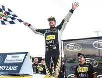 Alex Tagliani celebrates his win at the Edmonton International Raceway in Wetaskiwin.