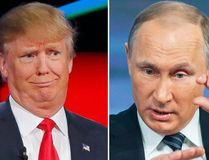 Republican U.S. presidential candidate Donald Trump (left) got props from Russian President Vladimir Putin Dec. 17,2015. (REUTERS/Mike Blake/AP Photo/Alexander Zemlianichenko)