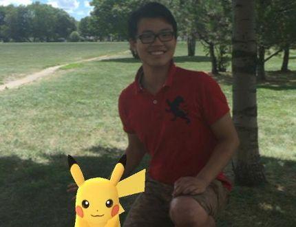 Jack Lau poses with a Pikachu through the camera feature of Pokemon Go. (Photo courtesy Jack Lau)