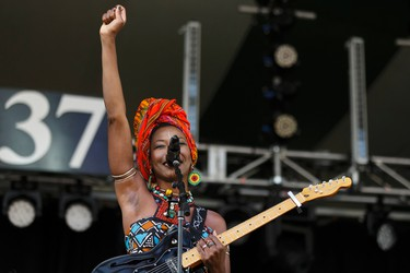 Fatoumata Diawara performs on the main stage during the Edmonton Folk Music Festival at Gallagher Park in Edmonton, Alberta on Thursday, August 4, 2016. Ian Kucerak / Postmedia