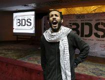 An Egyptian man shouts anti-Israeli slogan