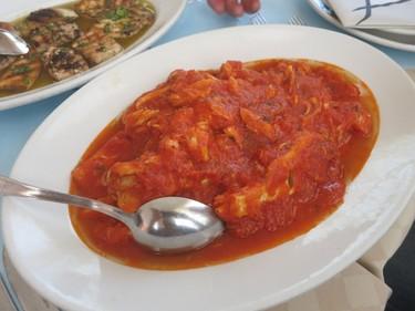 Firm whitefish in cold tomato sauce at Ittioturismo. (Rita DeMontis/Toronto SUN)