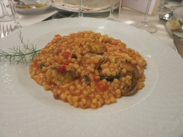 Traditional pasta dish at Hotel dei Pini in Alghero. (Rita DeMontis/Toronto SUN)