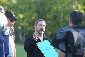 Sudbury Spartans head coach Junior Labrosse talks strategy during team practice in Sudbury, Ont. on Tuesday May 31, 2016. Gino Donato/Sudbury Star/Postmedia Network