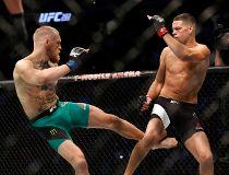 Conor McGregor kicks Nate Diaz