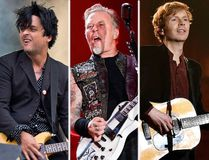 (L-R) Billie Joe Armstrong of Green Day, James Hetfield of Metallica and Beck. (Postmedia/AP file photos)