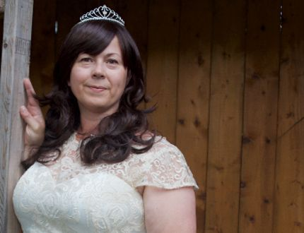 Jane Bailey in her wedding dress. (Supplied photo)