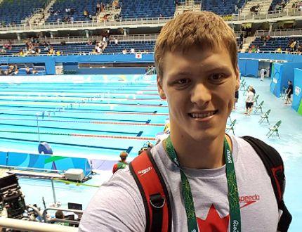 Evan Van Moerkerke at the Aquatics Stadium in Rio. (CONTRIBUTED PHOTO)