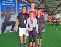 Evan Van Moerkerke with his parents Eric and Carol, and his grandmother Simonne Van Moerkerke at the 2016 Summer Olympics. (CONTRIBUTED PHOTO)