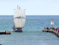 The Toronto Brigantine Tall Ship Playfair arrived at Kincardine Marina Friday afternoon to kick off the 3rd Annual Kincardine Marine Heritage Festival, which runs Aug. 26-27, 2016. (Troy Patterson/Kincardine News)