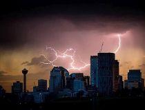 Lightning over Calgary skyline