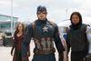 "This image released by Disney shows Elizabeth Olsen, left, Chris Evans and Sebastian Stan in a scene from Marvel's ""Captain America: Civil War."" (Handout photo)"