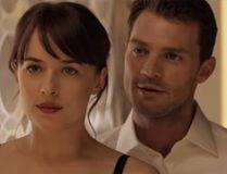 Dakota Johnson and Jamie Dornan are pictured in the 'Fifty Shades Darker' trailer.