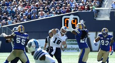 Toronto Argonauts QB Dan Lefevour throws during CFL action against the Winnipeg Blue Bombers in Winnipeg on Sat., Sept. 17, 2016. Kevin King/Winnipeg Sun/Postmedia Network