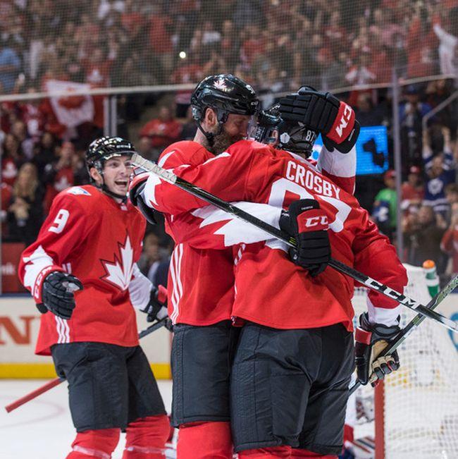 Team Canada C Joe Thornton (97) celebrates with Team Canada C Sidney Crosby (87) in Toronto on Saturday September 17, 2016. Craig Robertson/Toronto Sun/Postmedia Network