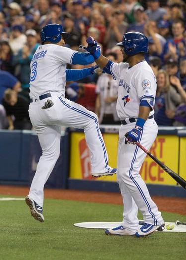 Toronto Blue Jay's Ezequiel Carrera celebrates his solo shot against the Baltimore Orioles in Toronto, Ont. on Tuesday September 27, 2016. Craig Robertson/Toronto Sun/Postmedia Network