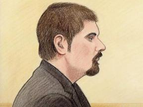 Court sketch of Jeffery Weber.