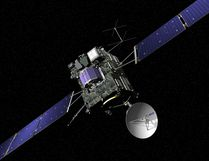The artist impression provided on the website of the European Space Agency ESA on Sept. 29, 2016 shows ESA's Rosetta cometary probe. The spacecraft will be crash landed on Comet 67P/Churyumov-Gerasimenko Sept. 30, 2016. (J. Huart/ESA via AP)