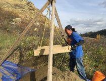 Darren High Eagle at McKinnon Flats archaeological dig