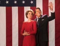 "Cynthia Nixon and Tim Matheson as Nancy and Ronald Reagon in Bill O'Reilly's ""Killing Reagan."""