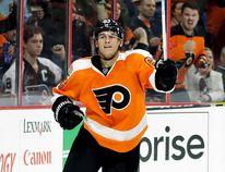 Philadelphia Flyers forward Travis Konecny of Clachan celebrates after scoring against the New York Rangers in an NHL pre-season game Oct. 3, 2016, in Philadelphia. (MATT SLOCUM/The Associated Press)