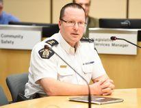 Grande Prairie RCMP Supt. Donnan McKenna speaks to city councillors on Monday evening. Svjetlana Mlinarevic/Daily Herald-Tribune