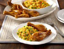 Sweet curry drumsticks with basmati pilaf.