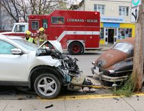 Scene of a two-vehicle crash on Pine Street South in Timmins on Thursday October 20,2016. LEN GILLIS / Postmedia