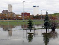 A waterline break near the city tower on October 20, 2016