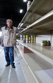 Food bank shelves empty