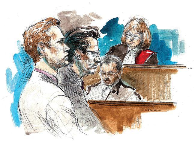 Conrad Black's son Jonathan Black, left, is seen in court in Toronto on July 28, 2011. (Pam Davies/Toronto Sun illustration)