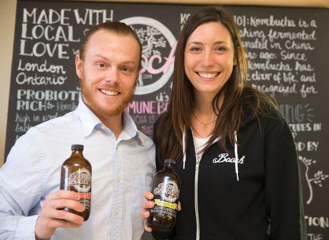 Shawn Slade and Shannon Kamis make and sell kombucha at their Dundas Street store, called Booch.