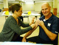 Interlake-Eastern CEO Ron van Denakker receives his flu shot from immunization nurse Debbie Wangsud. The IERHA is encouraging residents to get their annual flu shot if they have yet to do so. (IERHA)