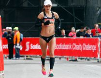 Lanni Marchant crosses the finish line during the Scotiabank Toronto Waterfront Marathon on Oct. 19, 2014. Marchant will run at the New York City Marathon on Sunday. (Dave Abel/Toronto Sun/Files)
